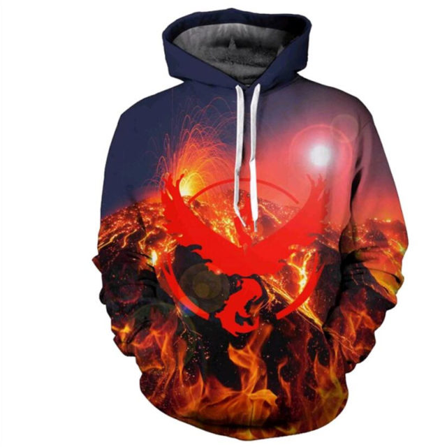 Digital Pokemon Go 3D Print Unisex Hooded Sweatshirt